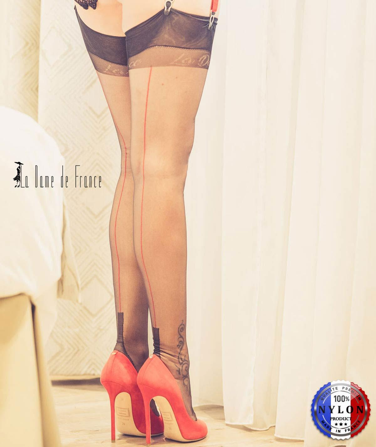 bas couture bicolore noir et rouge, nylon transparent et fin pas cher, très bonne qualité française