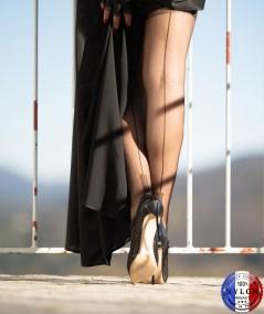 Bas couture fabrication francaise 100% nylon, un bas vintage pour porte jarretelles talon cubain La Dame de France