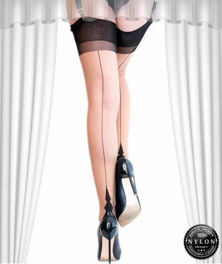 Achetez le bas couture Démon, un bas nylon bicolore de qualité